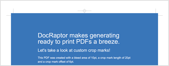 A PDF with customized crop marks