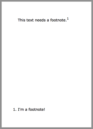 a simple PDF with a footnote