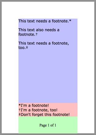 a simple PDF with a footnote, page counter, and styles footnote markers